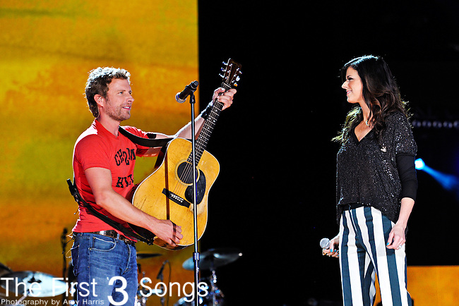 Dierks Bentley and Karen Fairchild perform at LP Field during the 2012 CMA Music Festival on June 10, 2011 in Nashville, Tennessee.