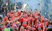 RC Toulon celebrate winning the European Rugby Champions Cup and becoming the first champions of Europe three years in a row after a 24-18 win over Clermont.