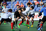 The Hague, Netherlands, June 01: Phil Burrows #18 of New Zealand fights for the ball during the field hockey group match (Men - Group B) between the Black Sticks of New Zealand and Korea on June 1, 2014 during the World Cup 2014 at GreenFields Stadium in The Hague, Netherlands. Final score 2:1 (1:0) (Photo by Dirk Markgraf / www.265-images.com) *** Local caption ***