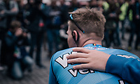 At the start in Leuven, Team V&eacute;randas Willems-Crelan line up to honour their teammate Michael Goolaerts (BEL), who died of a cardiac arrest just days earlier during Paris-Roubaix.<br /> All teammates ride with an armband with Goolaerts' name on it.<br /> For the rest of the season , the team will be riding #ALL4GOOLIE to honour and remember him.<br /> <br /> 58th De Brabantse Pijl 2018 (1.HC)<br /> 1 Day Race: Leuven - Overijse (BEL/202km)