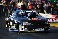 Oct. 16, 2011; Chandler, AZ, USA; NHRA pro stock driver Erica Enders during the Arizona Nationals at Firebird International Raceway. Mandatory Credit: Mark J. Rebilas-