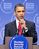 United States President Barack Obama contemplates a reporter's question as he conducts a press conference following the Nuclear Security Summit at the Washington Convention Center in Washington, D.C. on Tuesday, April 13, 2010.Credit: Ron Sachs / CNP