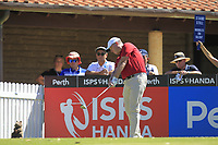 Marcus Fraser (AUS) in action on the 1st during Round 3 of the ISPS Handa World Super 6 Perth at Lake Karrinyup Country Club on the Saturday 10th February 2018.<br /> Picture:  Thos Caffrey / www.golffile.ie<br /> <br /> All photo usage must carry mandatory copyright credit (&copy; Golffile | Thos Caffrey)