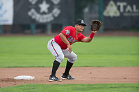 Billings Mustangs second baseman Dylan Harris (27) during a Pioneer League game against the Ogden Raptors at Lindquist Field on August 17, 2018 in Ogden, Utah. The Billings Mustangs defeated the Ogden Raptors by a score of 6-3. (Zachary Lucy/Four Seam Images)