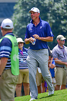 Matt Kuchar (USA) approaches the 9th tee with his popped collar during Saturday's round 3 of the PGA Championship at the Quail Hollow Club in Charlotte, North Carolina. 8/12/2017.<br /> Picture: Golffile | Ken Murray<br /> <br /> <br /> All photo usage must carry mandatory copyright credit (&copy; Golffile | Ken Murray)