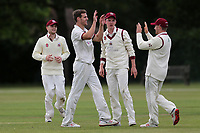 Nick Winter of Brentwood celebrates with his team mates after taking the wicket of Talha Mumtaz during Brentwood CC vs Ilford CC, Shepherd Neame Essex League Cricket at The Old County Ground on 8th June 2019