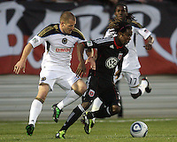 Joseph Ngwenya(11) of D.C. United moves the ball past Jordan Harvey(2) of the Philadelphia Union during a play-in game for the US Open Cup tournament at Maryland Sportsplex, in Boyds, Maryland on April 6 2011. D.C. United won 3-2 after overtime penalty kicks.