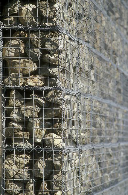 Dominus Estate winery walls, called gabions, or steel baskets holding basalt rock.