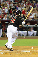 May 12, 2012; Phoenix, AZ, USA; Arizona Diamondbacks outfielder Justin Upton is hit by a pitch against the San Francisco Giants in the first inning at Chase Field. Mandatory Credit: Mark J. Rebilas-