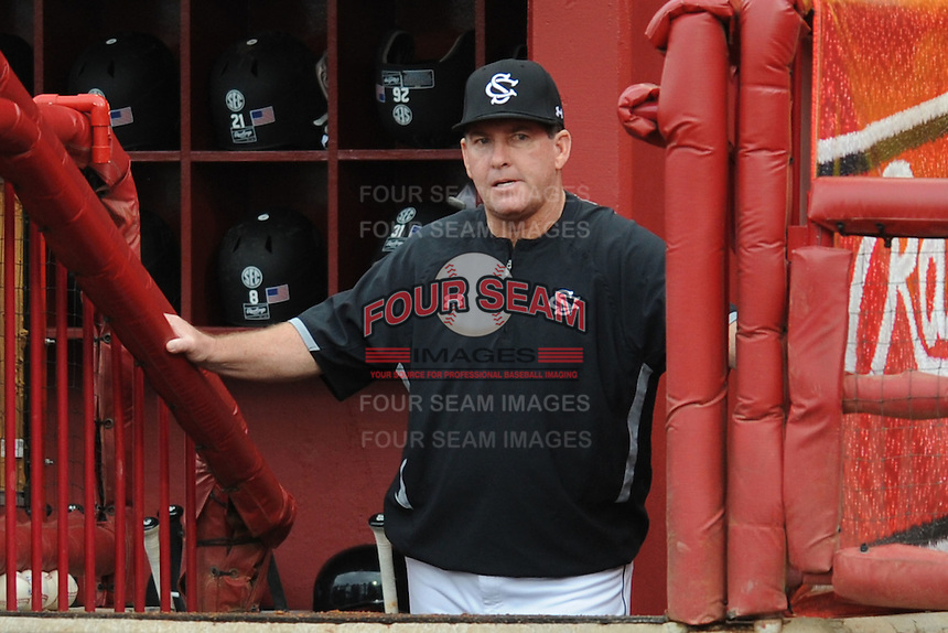 Head Coach Ray Tanner #1 of the South Carolina Gamecocks monitors his team during a game against the South Carolina Gamecocks at Carolina Stadium on March 3, 2012 in Columbia, South Carolina. The Gamecocks defeated the Tigers 9-6. Tony Farlow/Four Seam Images.