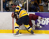 J.C. Robitaille (Merrimack - 16), Brian Gibbons (BC - 17) - The Merrimack College Warriors defeated the Boston College Eagles 5-3 on Sunday, November 1, 2009, at Lawler Arena in North Andover, Massachusetts splitting the weekend series.