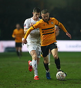 5th February 2019, Rodney Parade, Newport, Wales; FA Cup football, 4th round replay, Newport County versus Middlesbrough; Dan Butler of Newport County gets possession of the ball with Paddy McNair of Middlesbrough pushing from behind giving away a foul