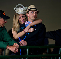 LOUISVILLE, KENTUCKY - MAY 04: Two fans during Thurby at Churchill Downs on May 4, 2017 in Louisville, Kentucky. (Photo by Scott Serio/Eclipse Sportswire/Getty Images)