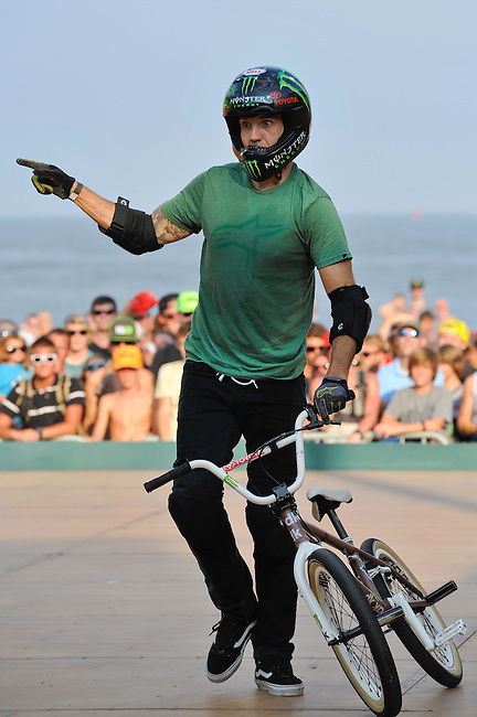 16 August, 2012:  Jamie Bestwick points to the ramp after falling during the  BMX Vert Final: Round 1 at the Pantech Beach Championships in Ocean City, MD