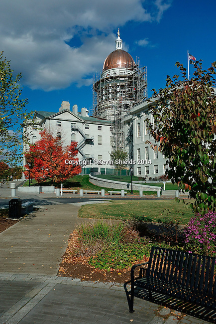 View of the Maine State House, Augusta, Maine, USA, during restoration of the dome.