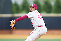 Florida State Seminoles relief pitcher Jameis Winston (44) in action against the Wake Forest Demon Deacons at Wake Forest Baseball Park on April 19, 2014 in Winston-Salem, North Carolina.  The Seminoles defeated the Demon Deacons 4-3 in 13 innings.  (Brian Westerholt/Four Seam Images)