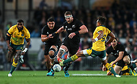 Kieran Read grubbers ahead during the Bledisloe Cup and Rugby Championship rugby match between the New Zealand All Blacks and Australia Wallabies at Eden Park in Auckland, New Zealand on Saturday, 25 August 2018. Photo: Simon Watts / lintottphoto.co.nz