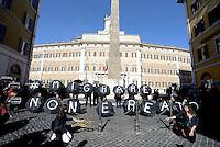Roma, 2 Febbraio 2016.<br /> Flash mob davanti Montecitorio contro il reato di clandestinit&agrave;, organizzato da volontarie e volontari del centro Baobab e da Medu