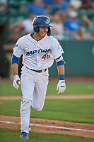 Jimmy Titus (40) of the Ogden Raptors hustles to first base against the Missoula Osprey at Lindquist Field on August 12, 2019 in Ogden, Utah. The Raptors defeated the Osprey 4-3. (Stephen Smith/Four Seam Images)