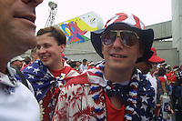 US Soccer supporters line up in anticipation at an entrance to Daegu World Cup stadium before the first round match against South Korea on Monday June 10th, 2002 in Daegu, South Korea. The USA national team tied South Korea 1-1.