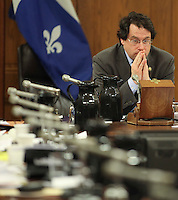 Bernard Drainville, PQ MNA for the riding of Marie-Victorin, joins hands as he listen to an answer from Pierre-Marc Johnson, representative of Quebec to the Canada-Europe free trade negotiations at the National Assembly in Quebec city, Thursday December 8, 2011.