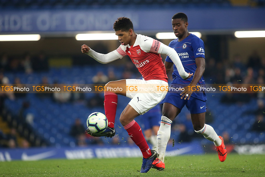 Tyreece John-Jules of Arsenal controls the ball as Chelsea's Marc Guehi looks on during Chelsea Under-23 vs Arsenal Under-23, Premier League 2 Football at Stamford Bridge on 15th April 2019