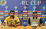 Coaches and players of Qadsia SC and Al Jaish attends the pre match press conference prior to the Qadsia SC vs Al Jaish during the 2015 AFC Cup 2015 Quarter Final 1st leg match on August 24, 2015 at the  Kuwait S.C. Stadium in Kuwait City, Kuwait. Photo by Adnan Hajj / World Sport Group