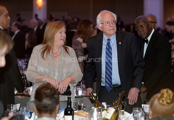 United States Senator Bernie Sanders (Independent of Vermont), a candidate for the Democratic Party nomination for President of the United States, and wife Jane, attend the White House Correspondents' Association annual dinner on April 30, 2016 at the Washington Hilton hotel in Washington. This is President Obama's eighth and final White House Correspondents' Association dinner.<br /> Credit: Olivier Douliery / Pool via CNP/MediaPunch