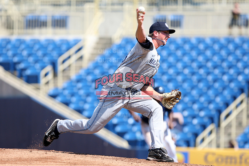 West Michigan Whitecaps pitcher Tim Mowry #43 delivers a pitch during the second game of a double header against the Lake County Captains at Classic Park on May 30, 2011 in Eastlake, Ohio.  Lake County defeated West Michigan 4-3.  Photo By Mike Janes/Four Seam Images