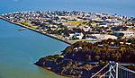 Aerial view of Treasure island and Bay Bridge San Fran and Oakland, California