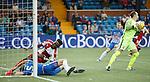 Joe Dodoo injury as he collides with keeper Jamie MacDonald and defender William Boyle