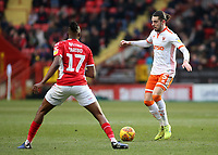 Blackpool's Anthony Evans tries to find a way past Charlton Athletic's Joe Aribo<br /> <br /> Photographer David Shipman/CameraSport<br /> <br /> The EFL Sky Bet League One - Charlton Athletic v Blackpool - Saturday 16th February 2019 - The Valley - London<br /> <br /> World Copyright © 2019 CameraSport. All rights reserved. 43 Linden Ave. Countesthorpe. Leicester. England. LE8 5PG - Tel: +44 (0) 116 277 4147 - admin@camerasport.com - www.camerasport.com