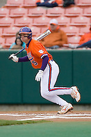 Mike Freeman #5 of the Clemson Tigers follows through on his swing versus the Wake Forest Demon Deacons at Doug Kingsmore stadium March 13, 2009 in Clemson, SC. (Photo by Brian Westerholt / Four Seam Images)