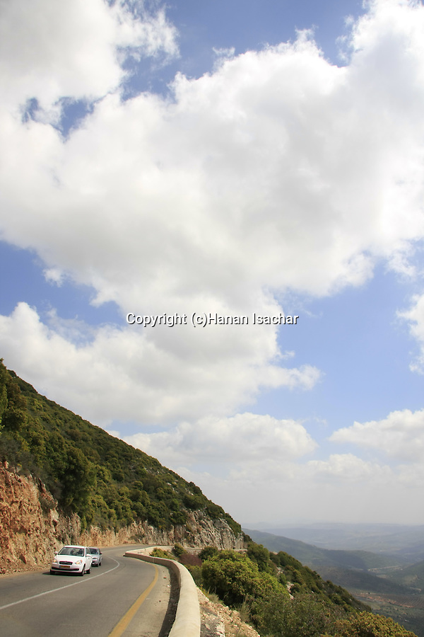 Israel, Upper Galilee, Road 864 overlooking Beit Hakerem valley