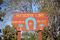Horseshoe Lake At El Dorado Regional Park In Long Beach California
