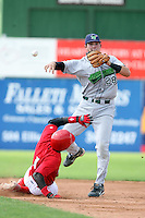 September 1 2008:  Shortstop Joel Staples of the Jamestown Jammers, Class-A affiliate of the Florida Marlins, during a game at Dwyer Stadium in Batavia, NY.  Photo by:  Mike Janes/Four Seam Images