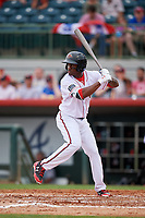 Florida Fire Frogs right fielder Anfernee Seymour (5) at bat during a game against the Daytona Tortugas on April 7, 2018 at Osceola County Stadium in Kissimmee, Florida.  Daytona defeated Florida 4-3.  (Mike Janes/Four Seam Images)