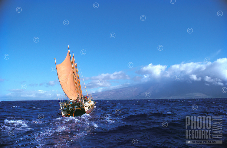 Hokule'a sailing toward Moloka'i (background), Pailolo Channel.