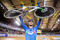 Picture by Alex Whitehead/SWpix.com - 04/03/2016 - Cycling - 2016 UCI Track Cycling World Championships, Day 3 - Lee Valley VeloPark, London, England - Italy's Filippo Ganna wins Gold in the Men's Individual Pursuit final.