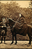 BNPS.co.uk (01202 558833)<br /> Pic: Bonhams/BNPS<br /> <br /> Queen Victoria with John Brown.<br /> <br /> 'Mrs Brown's' christmas gift to her loyal manservant revealed.<br /> <br /> An antique rifle that was a gift from Queen Victoria to a manservant who was rumoured to have been her lover has emerged for sale for &pound;40,000.<br /> <br /> The stoic monarch turned to trusted attendant John Brown for counsel after the death of her husband, Prince Albert in 1861.<br /> <br /> Their friendship became so close that it was suggested they were romantically involved.<br /> <br /> At Christmas 1873 she gave keen huntsman Brown a brand new .450 double-barrelled hammer rifle made by Alexander Henry in Edinburgh.<br /> <br /> The gun is being sold by Bonhams in London on May 12.