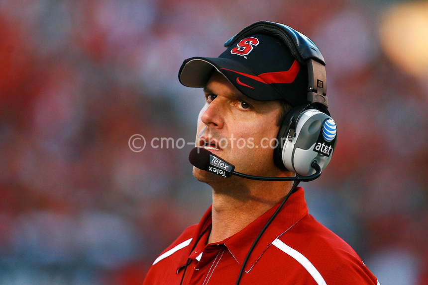 Oct 17, 2009; Tucson, AZ, USA; Stanford Cardinal head coach Jim Harbaugh reacts to an officials call during the 2nd quarter of a game against the Arizona Wildcats at Arizona Stadium.
