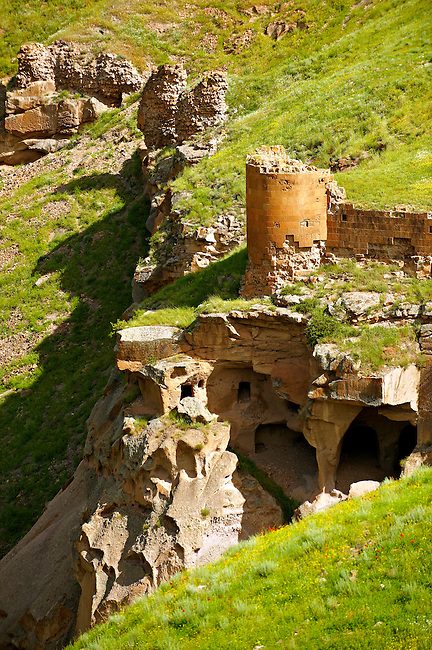 North Walls & Ravine with cave houses around Ani archaelogical site on the Ancient Silk Road , Kars , Anatolia, Turkey