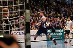 09.11.2019, Hansehalle Luebeck, GER,  2.Bundesliga Handball VfL Luebeck-Schwartau - TV Emsdetten<br /> <br /> im Bild / picture shows<br /> Markus Hansen VfL Luebeck-Schwartau im Sprungwurf auf das tor von Torwart Konstantin Madert (TV Emsdetten).<br /> <br /> Foto © nordphoto / Tauchnitz