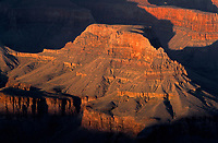 69AZGC_105 - USA, Arizona, Grand Canyon National Park, South Rim, Sandstone buttes below Hopi Point redden at sunset.