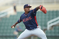Rome Braves relief pitcher Jose Montilla (37) in action against the Kannapolis Intimidators at Kannapolis Intimidators Stadium on April 7, 2019 in Kannapolis, North Carolina. The Intimidators defeated the Braves 2-1. (Brian Westerholt/Four Seam Images)