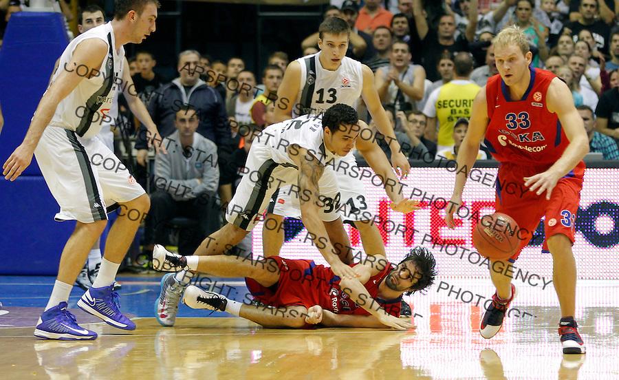 BELGRADE SERBIA 18/10/2012/ Milos Teodosic  Euroleague basketball game Partizan MTS -  CSKA Moscow (credit & photo: Pedja Milosavljevic / +381 64 1260 959 / thepedja@gmail.com)