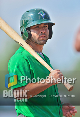 17 July 2013: Vermont Lake Monsters catcher Josh Miller awaits his turn in the batting cage prior to a game against the Aberdeen Ironbirds at Centennial Field in Burlington, Vermont. The Lake Monsters fell to the Ironbirds 5-1 in NY Penn League action. Mandatory Credit: Ed Wolfstein Photo