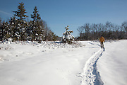 A man snowshoeing on a trail during the winter months in Fremont, New Hampshire USA