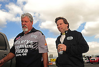 Feb. 24, 2011; Pomona, CA, USA; NHRA top fuel dragster driver Del Worsham (right) with father Chuck Worsham during qualifying for the Winternationals at Auto Club Raceway at Pomona. Mandatory Credit: Mark J. Rebilas-
