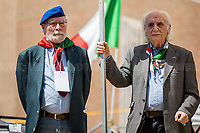 (On the R) Massimo Pradella (Antifascist Partizan. Member of the Partigiani: the Italian Resistance during WWII).<br /> <br /> Rome, 25/04/2018. Today, to mark the 73rd Anniversary of the Italian Liberation from nazi-fascism ('Liberazione'), ANED Roma & ANPI Roma (National Association of Italian Partizans) held a march ('Corteo') from Garbatella to Piazzale Ostiense where a rally took place attended by Partizans, Veterans and politicians – including the Mayor of Rome and the President of Lazio's Region. From the organisers Facebook page:<<For the 25th of April, the 73rd Anniversary of the Liberation of Italy from nazi-fascism, while facing new threats to the world peace, it is necessary to remember that the Fight for Liberation triggered the greatest, positive, 'break' of the whole modern age of the Italian history. The Fight for the Liberation was supported by a great solidarity of the people. The memory of those who in the partizan struggle, in the camps of imprisonment, internment or extermination, opposed - even until the sacrifice of life - the dictatorship, the greed of territorial conquests, crazy ideologies of race supremacy, constitutes concrete warning against any attempt to undermine the foundations of the free institutions born of the Resistance. Memory is not an instrument of hatred or revenge, but of unity in a spirit of harmony without discriminations...<br /> (For the full caption please read the PDF attached at the the beginning of this story).<br /> <br /> For more info please click here: https://bit.ly/2vOIfNf & https://bit.ly/2r4iJy3 & http://www.anpi.it<br /> <br /> For the Wikipedia's page of the 'Liberazione' please click here: https://en.wikipedia.org/wiki/Liberation_Day_(Italy)<br /> <br /> For a Video of the event by Radio Radicale please click here: https://www.radioradicale.it/scheda/539534/manifestazione-promossa-dallanpi-in-occasione-della-73a-festa-della-liberazione